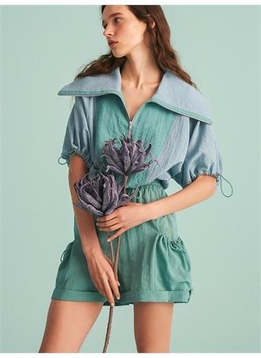 Nocturne Fermuarlı Crop Sweatshirt Mavi
